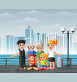 big happy family standing at riverbank across vector image vector image