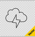 black line storm icon isolated on transparent vector image vector image