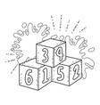 blocks numbers toys wih paint splash vector image vector image