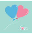 Blue and pink balloons in shape of heart Love card vector image