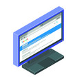 blue computer monitor with lots detail and vector image vector image