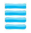 blue glass buttons shiny rectangle 3d icons with vector image vector image