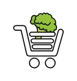 broccoli in shopping cart isolated icon design vector image vector image