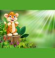 cartoon happy leopard standing on tree stump with vector image vector image