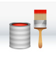 cartoon red paint bucket with and paint brush vector image vector image