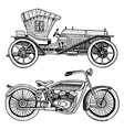 Classic car machine or engine and motorcycle or