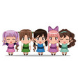 colorful set five full body cute anime tennagers vector image vector image