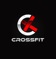 crossfit sport logo design symbol vector image