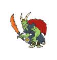 Demon Wield Fiery Sword Cartoon vector image vector image