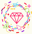 Diamond on abstract colorful geometric light vector image vector image
