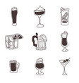 doodles drawings of alcoholic drinks in glasses vector image vector image