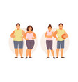 fat and slim couple vector image