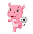 funny hippo playing soccer vector image vector image