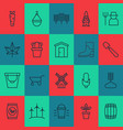 gardening icons set with gnome corn wind power vector image
