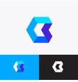 geometric shape arrow hexagon origami logo vector image