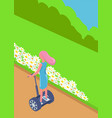 girl balancing on segway eco transport vector image