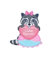 Girl Raccoon With Heart vector image vector image
