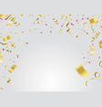 golden confetti and ribbon falling on transparent vector image