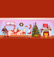 happy family christmas dinner celebrating holiday vector image