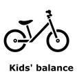 Kids balance bike icon simple style vector image