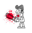 killer with bloody knife in hand isolated images vector image vector image