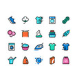 laundry line icons machine and hand wash sport vector image