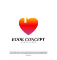 love book logo concept heart learning education vector image