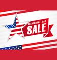 memorial day usa sale flag light stripes banner vector image vector image