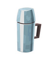 metal thermos in cartoon style isolated on white vector image vector image