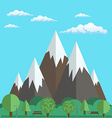 Natural landscapes of mountains and park with vector image vector image