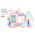 online banking concept with charactercreative vector image