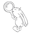 rabbit and magnifier outline vector image