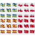 Rwanda Poland Spain Turkey Set of 36 flags of the vector image vector image