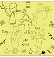 set christmas angels and stars vector image