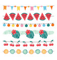 set colorful summer garlands birthday party vector image