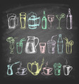 set hand drawn mugs and bottles vector image vector image