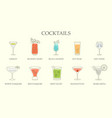 set line drawings different cocktails vector image