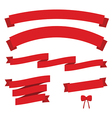 Set of red vintage ribbons vector image vector image