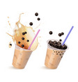 set with tapioca drinks vector image vector image