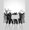 silhouette of crowd of people cheering vector image vector image