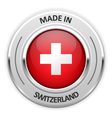 Silver medal Made in Switzerland with flag vector image vector image