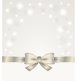 silver ribbon and bow with stars and snow flakes vector image vector image