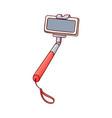 sketch selfie stick monopod with smartphone vector image vector image