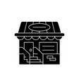 small shop black icon sign on isolated vector image vector image