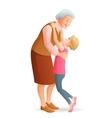 Smiling grandmother hugging her granddaughter vector image vector image