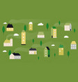 summer village landscape cute tiny houses rural vector image