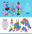 toy constructor isometric banners vector image vector image