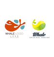 whale logo original design set sealife summer vector image vector image