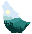 wolf forest sillhouette vector image vector image