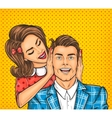 Woman close ears to the her man vector image vector image